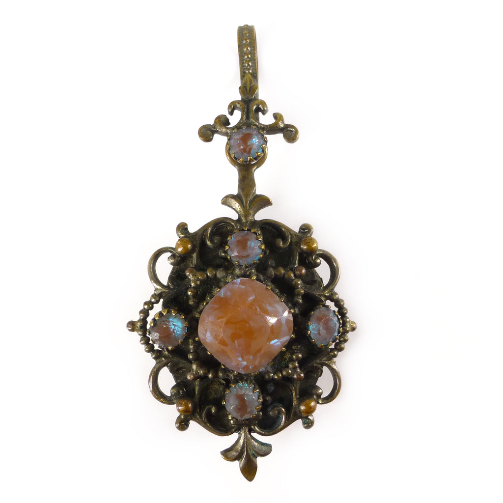 Antique Edwardian Czech Saphiret Glass Locket Pendant