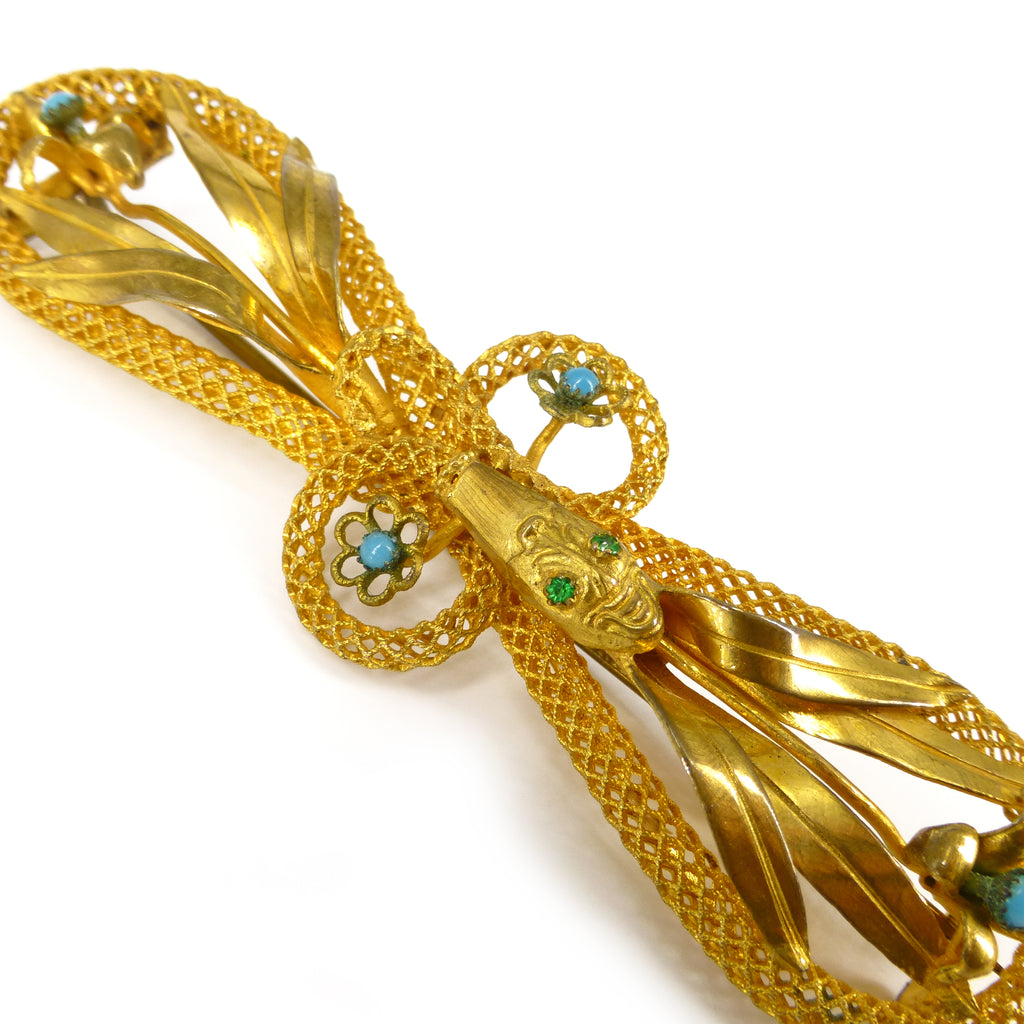 Antique Victorian Woven Gold Filled Snake & Forget Me Not Blue Brooch