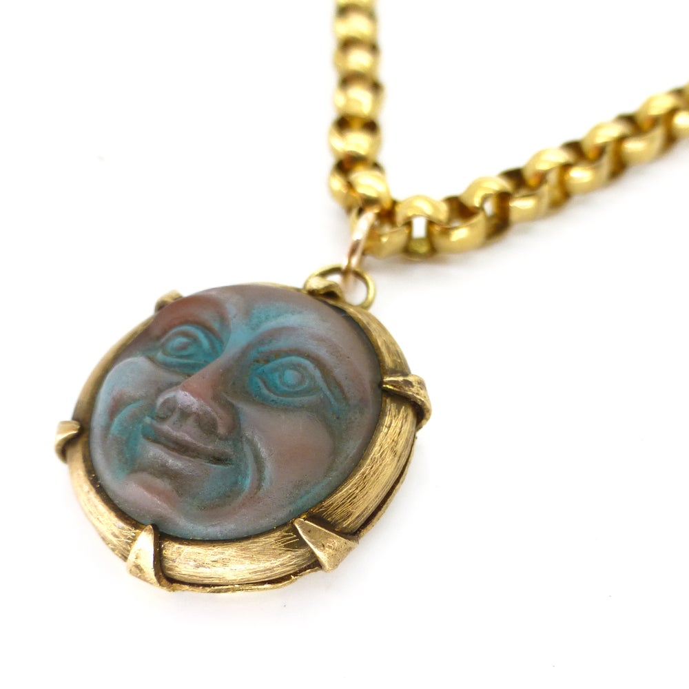 Antique Edwardian Saphiret Glass Man In The Moon Gold Belcher Chain Necklace