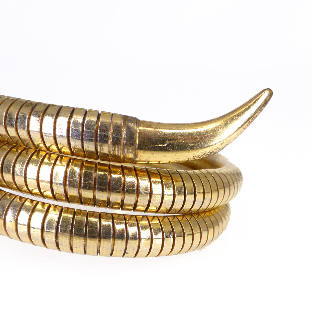 Antique Art Deco German Rolled Gold Figural Snake Bangle