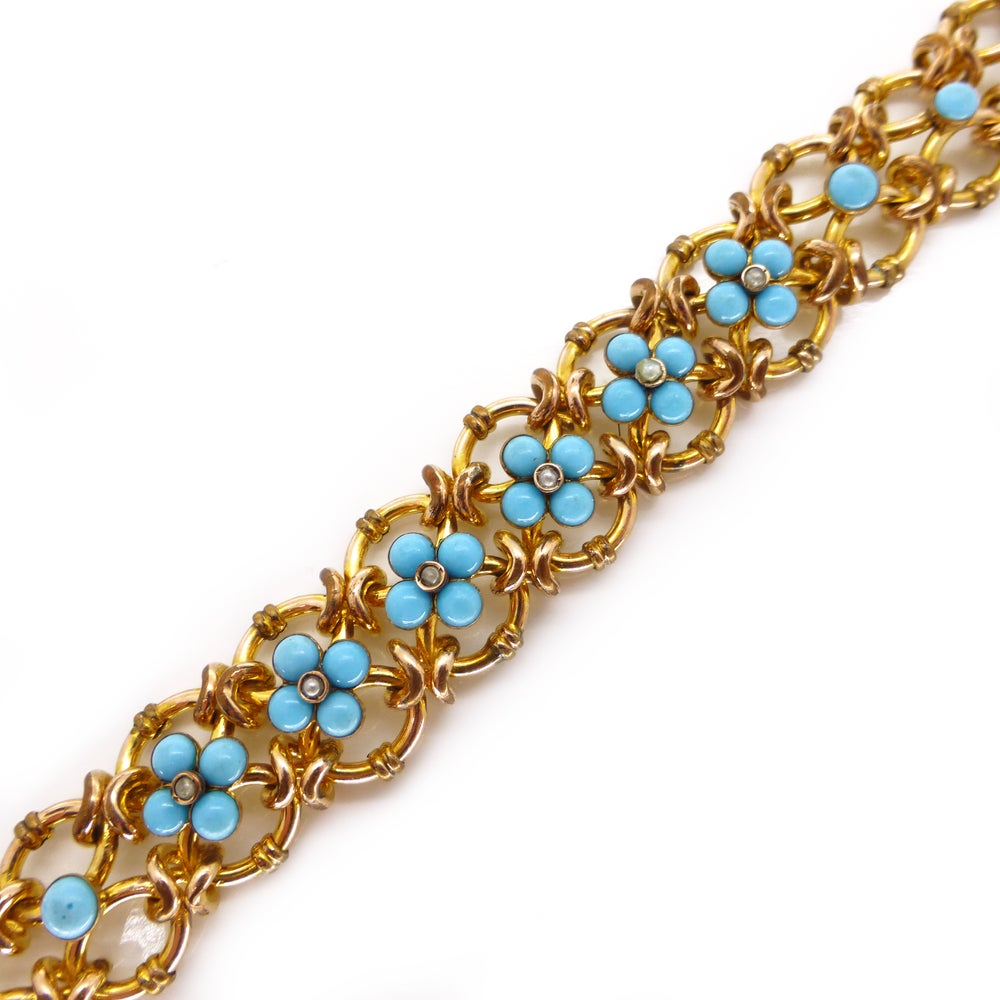 Antique Victorian 18ct Rolled Gold Turquoise Forget Me Not Chain Link Bracelet