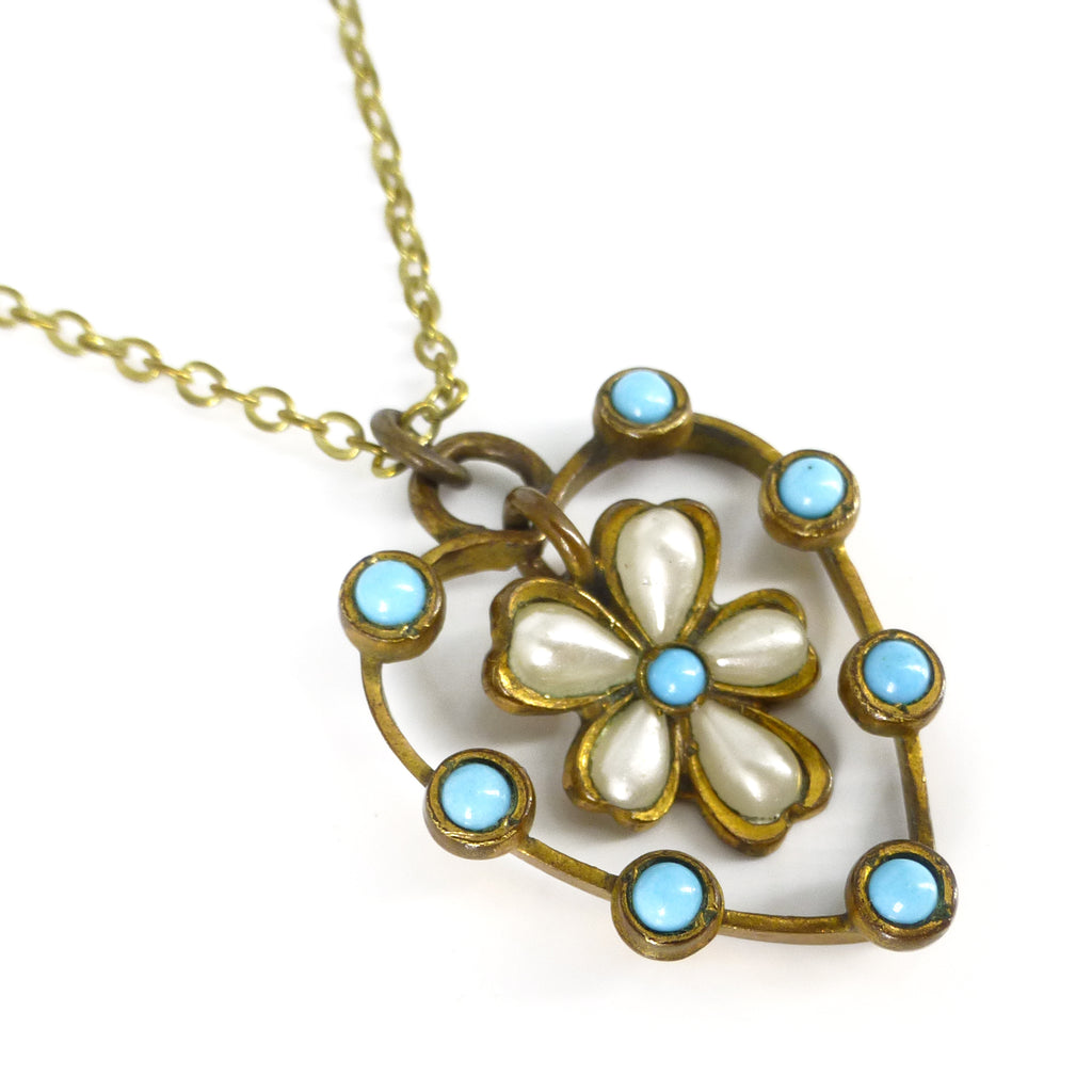 Antique Edwardian Turquoise Glass Pearl Flower Pendant Necklace