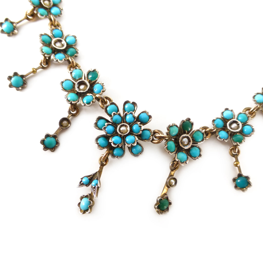Antique Victorian Silver Turquoise 'Forget Me Not' Floral Pearl Necklace