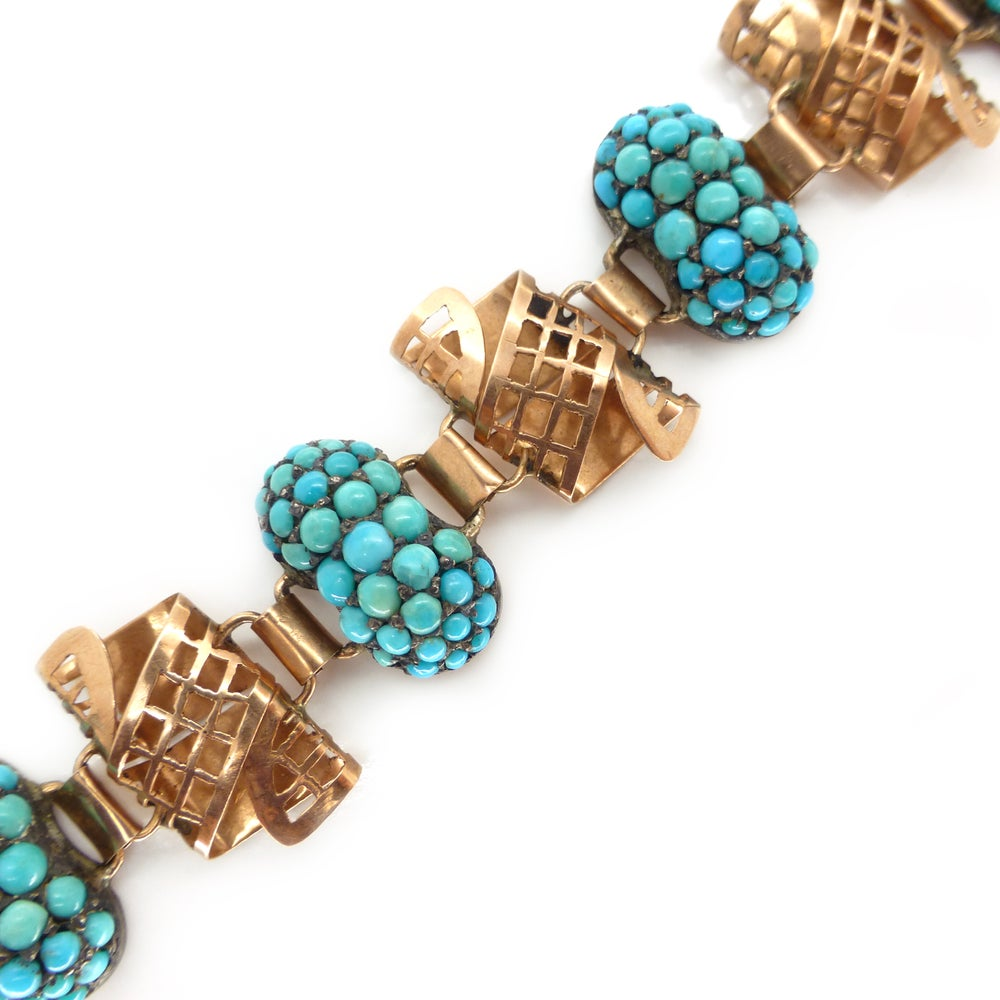 Antique 9ct Rose Gold & Silver Pave Turquoise Panel Bracelet