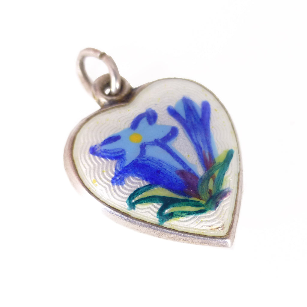 Antique Edwardian Silver Floral Enamel Puffy Heart Charm Pendant