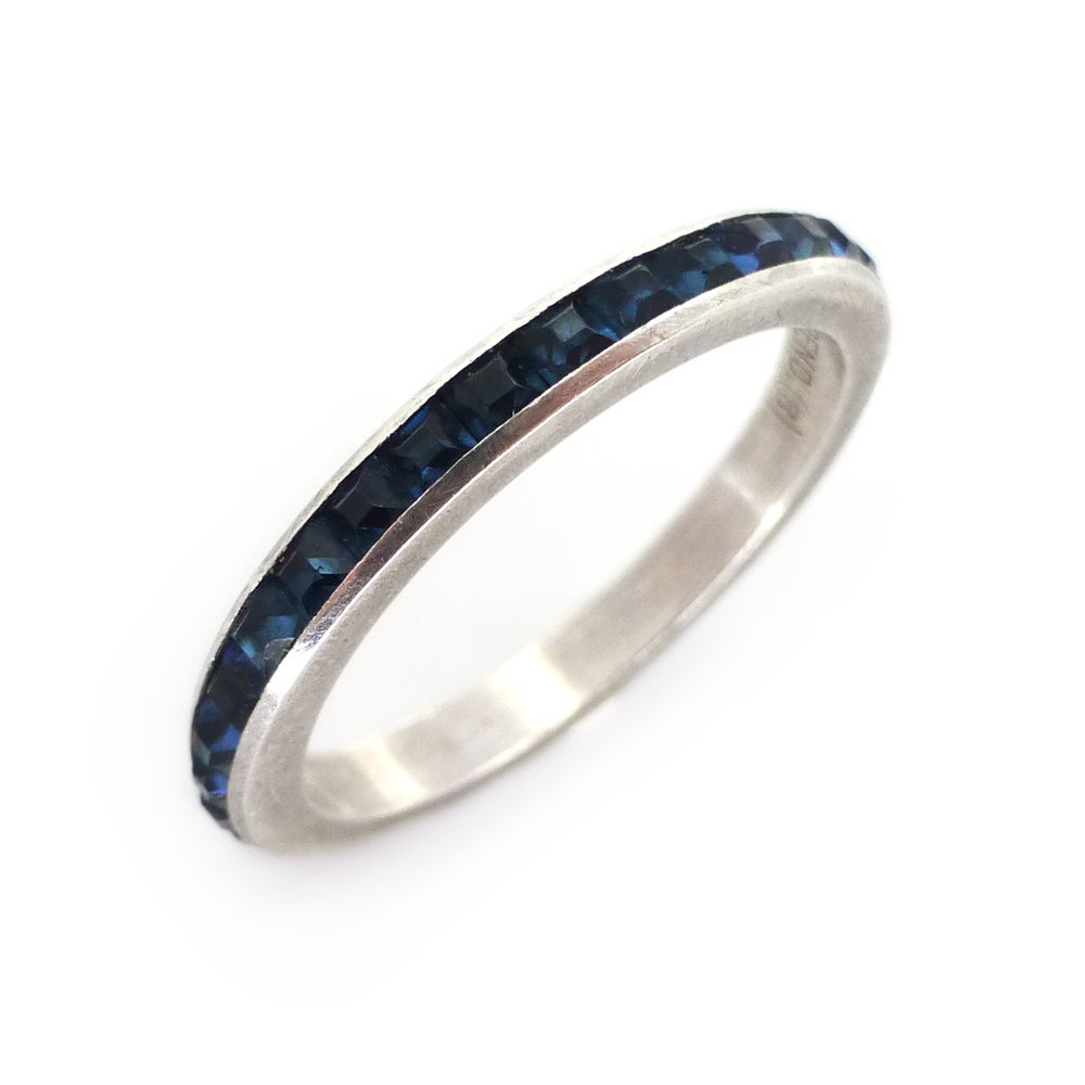 Vintage Mid Century Sterling Silver Trifari Blue Glass Channel Set Ring