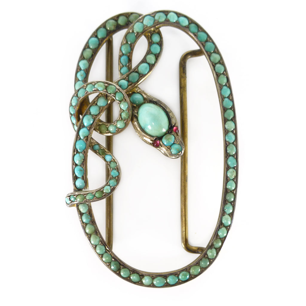 Antique Georgian Victorian Silver Turquoise Snake Buckle