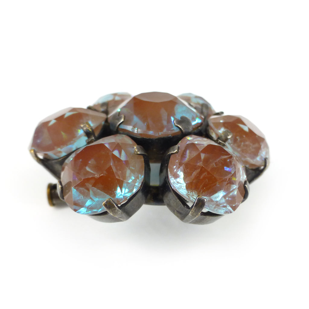 Antique Art Deco Saphiret Cushion Cut Glass Floral Stone Brooch サフィレット