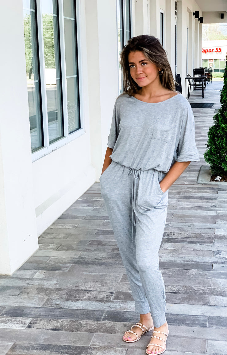 Easy Does It Jumpsuit, Heather Gray
