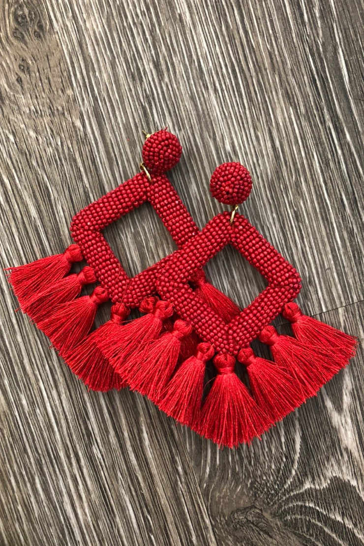 Ellie Fringe Drop Earrings, Red