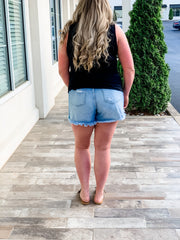 High Rise Patched Mom Shorts