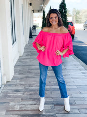 Catch Me In Aruba Off The Shoulder Top, Hot Pink