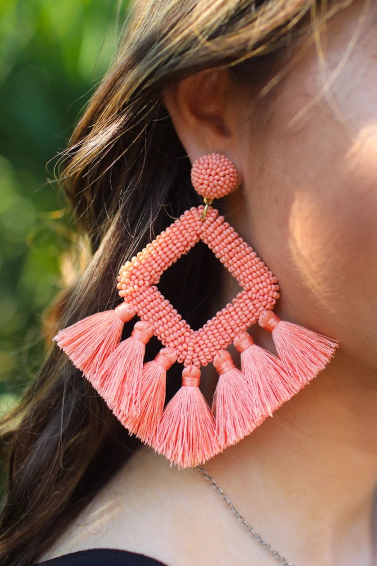 Ellie Fringe Drop Earrings, Peach