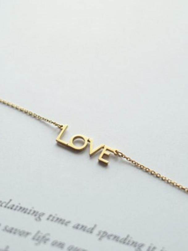 LOVE Gold Pendant Necklace - Hot Mess Mama Boutique