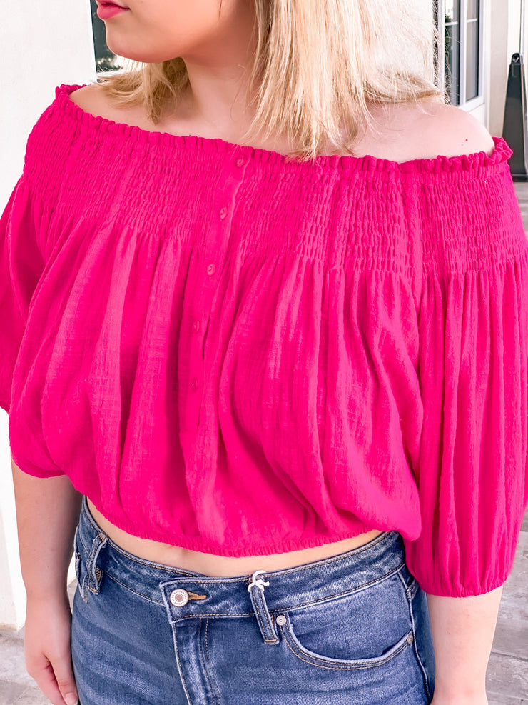 Marisol, Off The Shoulder Top, Pink | The Hot Mess Mama Boutique