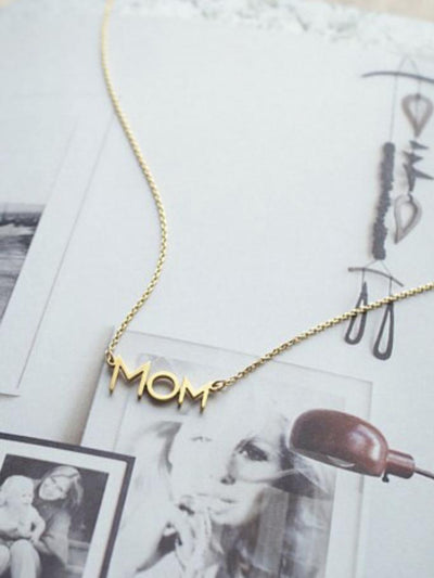 MOM Gold Pendant Necklace - Hot Mess Mama Boutique