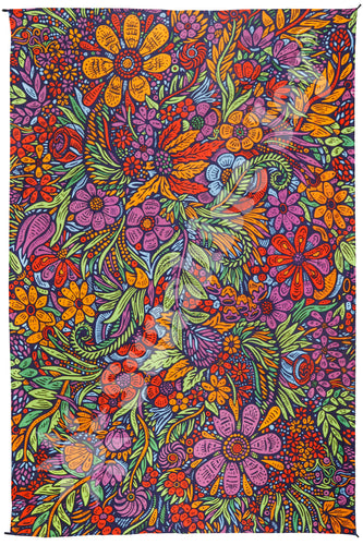 3D Lush Flower Tapestry Cotton Floral Art Tapestry