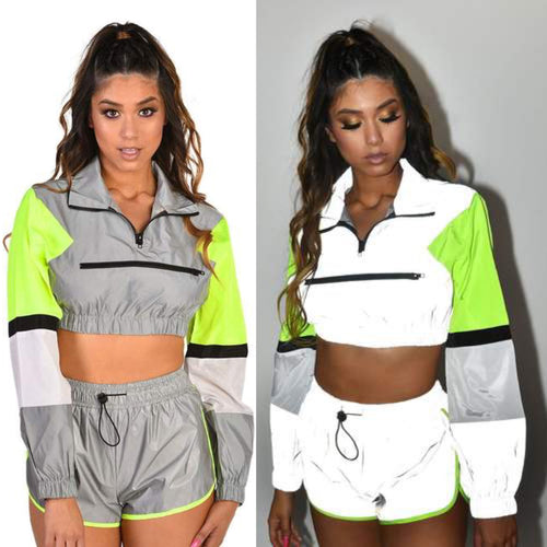 Ravin' Reflective Grey Lounge Set with Jacket and Shorts