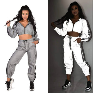 Platinum Reflective Lounge Set with Jacket and Pants