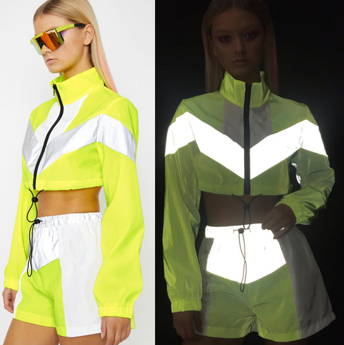 Cyber Reflective Neon Yellow Lounge Set with Jacket and Shorts