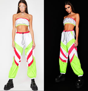 Glow up Grey Reflective Pants Lounge Set with Bandeau and Pants