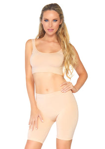 Nude Seamless Top And Shorts Set