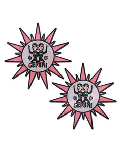 Astrology: Pink and Black Gemini Sign Sunburst
