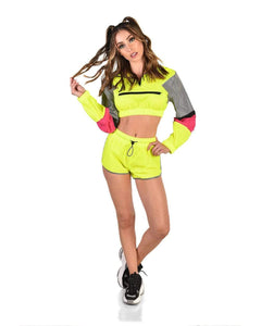 Glow up Yellow Reflective Lounge Set with Jacket and Shorts