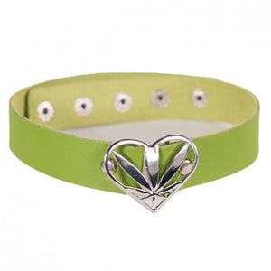 420 Choker heart Green and Silver