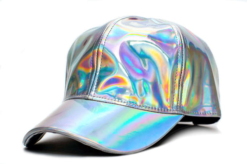 Shiny Silver Holographic Ball Cap Hat