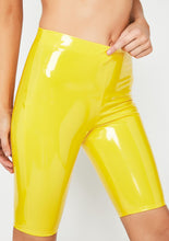 Load image into Gallery viewer, Latex Biker Shorts Yellow