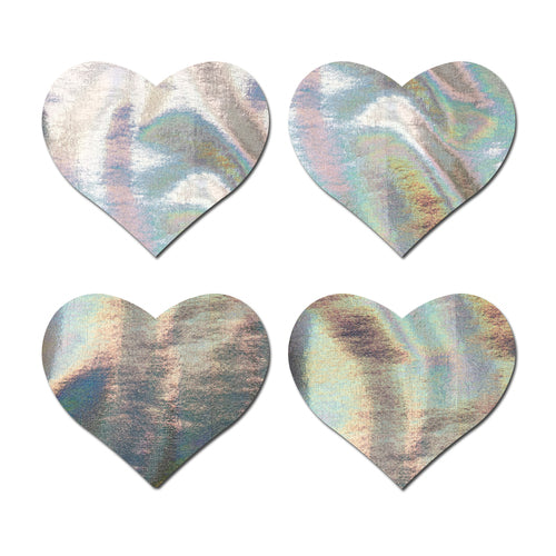 Petites: Two-Pair Small Holographic Silver Hearts