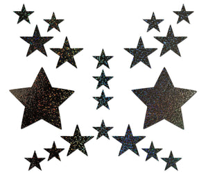Set: Black Glitter Star with 6 Mini Stars and 10 Baby Stars