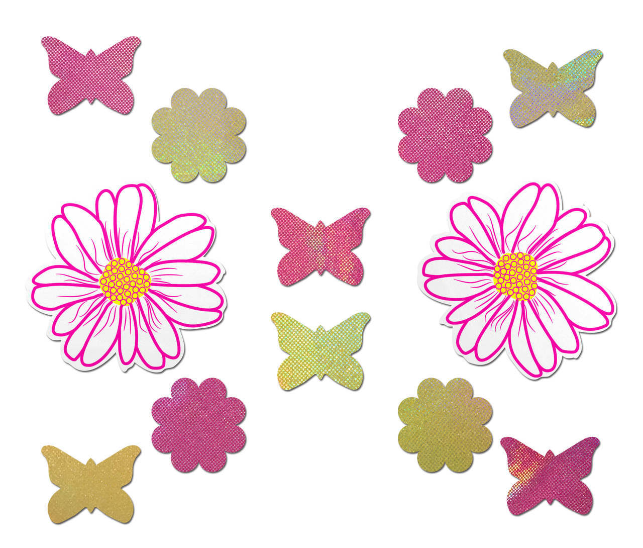 Set: White, Pink and Yellow Wildflower with 2 Mini Holographic Yellow Daisies, 2 Mini Holographic Pink Dasies, 3 Mini Holographic Yellow Butterflies, and 3 Mini Holographic Pink Butterflies