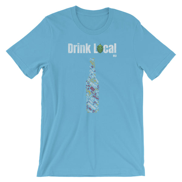 Drink Local Maryland Beer Bottle T-Shirt - 100 Breweries - Singletrack Apparel
