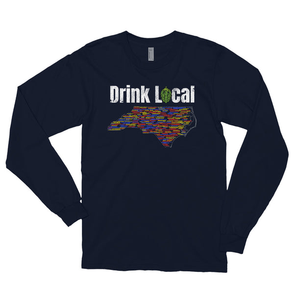 All North Carolina Breweries Drink Local Long Sleeve T-Shirt - Singletrack Apparel