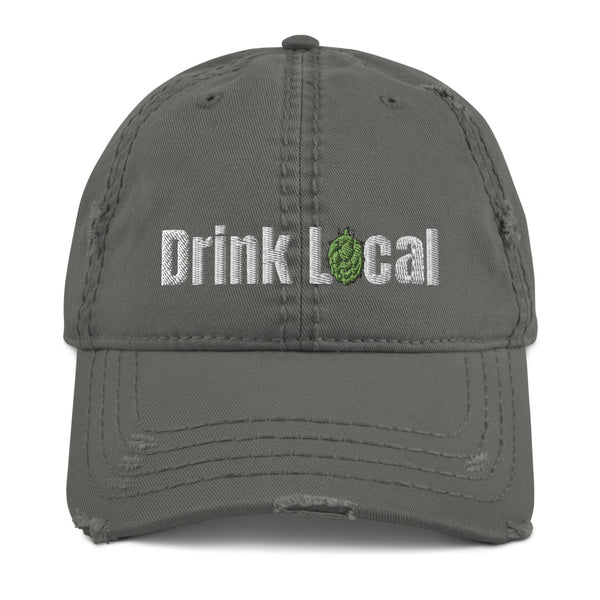 Drink Local Beer Distressed Hat - Embroidered - Singletrack Apparel