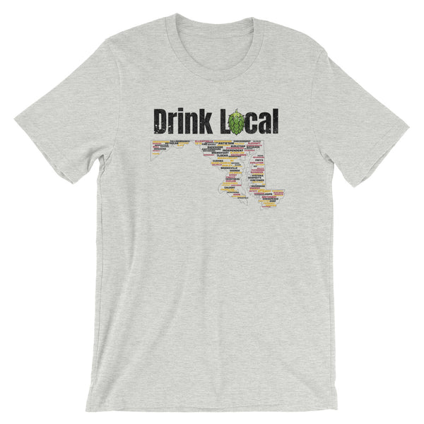 Drink Local Maryland Breweries Map T-Shirt - 100 Breweries - Singletrack Apparel