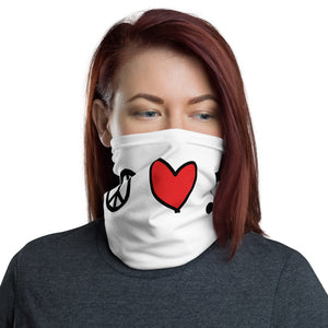 Peace, Love, Music Neck Gaiter, Face Mask/Face Shield, Headband - Singletrack Apparel