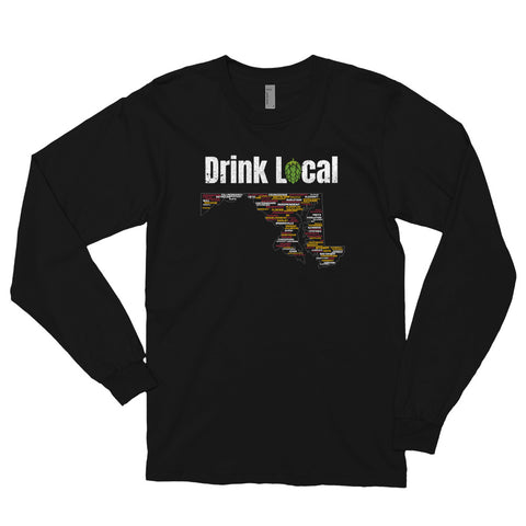 Drink Local Maryland Breweries Long Sleeve T-shirt - 100 Breweries - Singletrack Apparel
