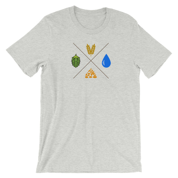 Beer - Hops Water Yeast Malt Tshirt - Singletrack Apparel