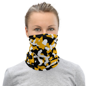 Pittsburg Steelers Neck Gaiter, Pittsburg Steelers Camo Face Cover, Black and Gold Camo Face Mask, Black and Gold Camo Headband - Singletrack Apparel