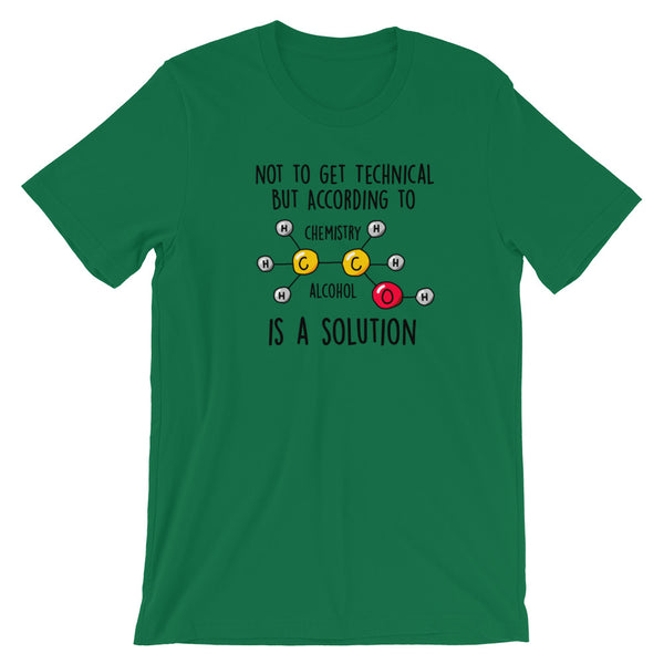 Alcohol IS A Solution Chemistry T-Shirt - Singletrack Apparel