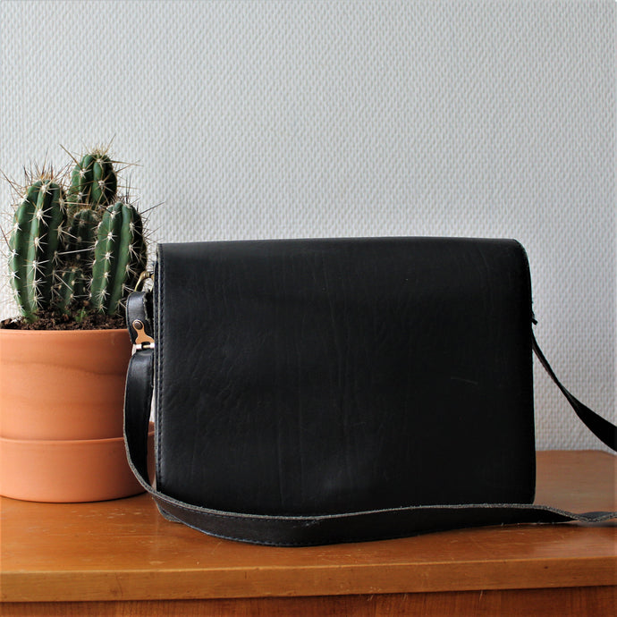 Zwartleren Crossbody