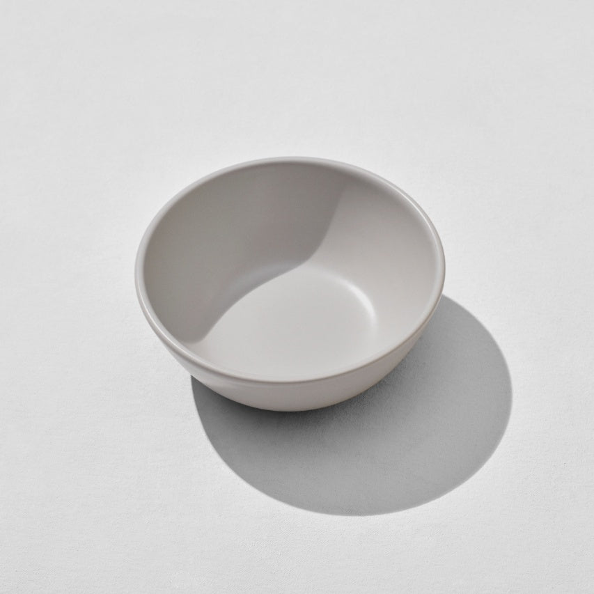Overhead view of grey breakfast bowl