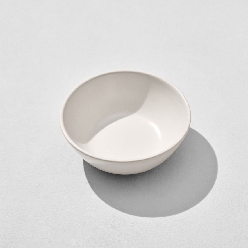 Overhead view of off white breakfast bowl