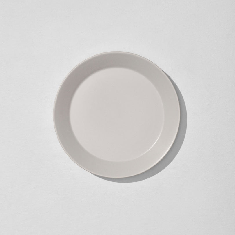 Overhead view of grey dinner plate