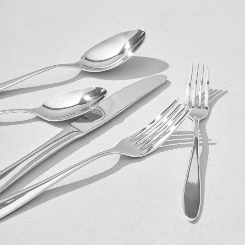 Close up of silver flatware pieces
