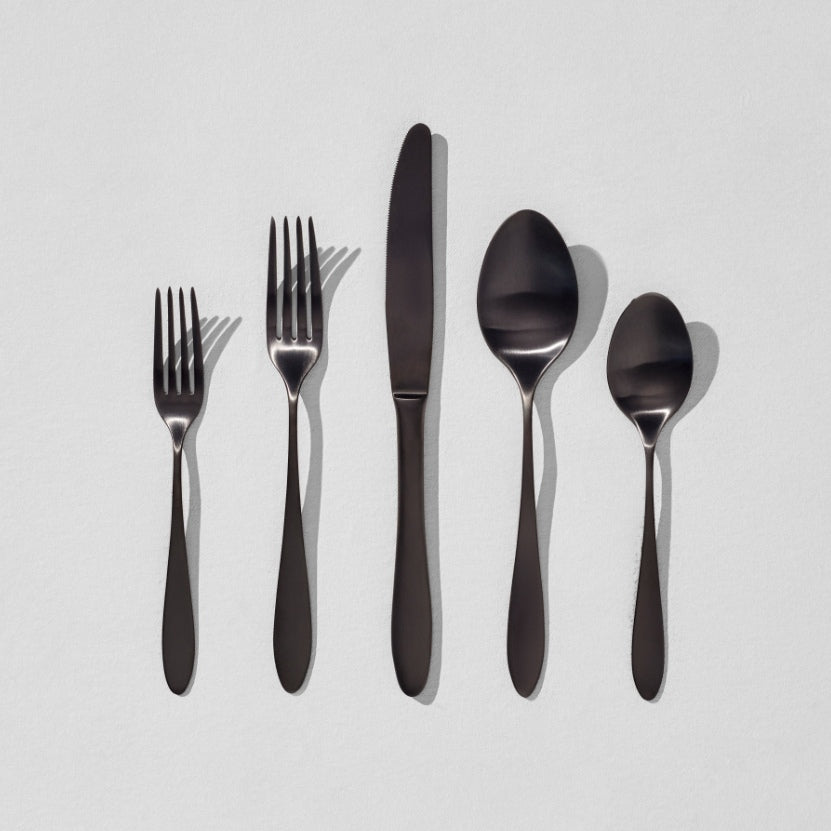 Black flatware in 5 shapes
