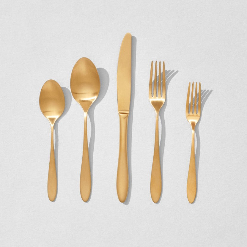 Gold flatware in 5 shapes
